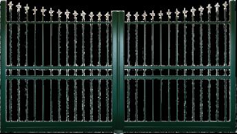 Forme cintrée - Couleur Vert 6005 SMF Embouts Fleur de lys doré antique