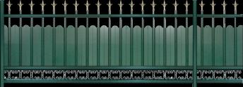 Couleur Noir 9005 SMF - Embouts Fleur de lys doré antique. Festons arrondis - Volutes teinte portail