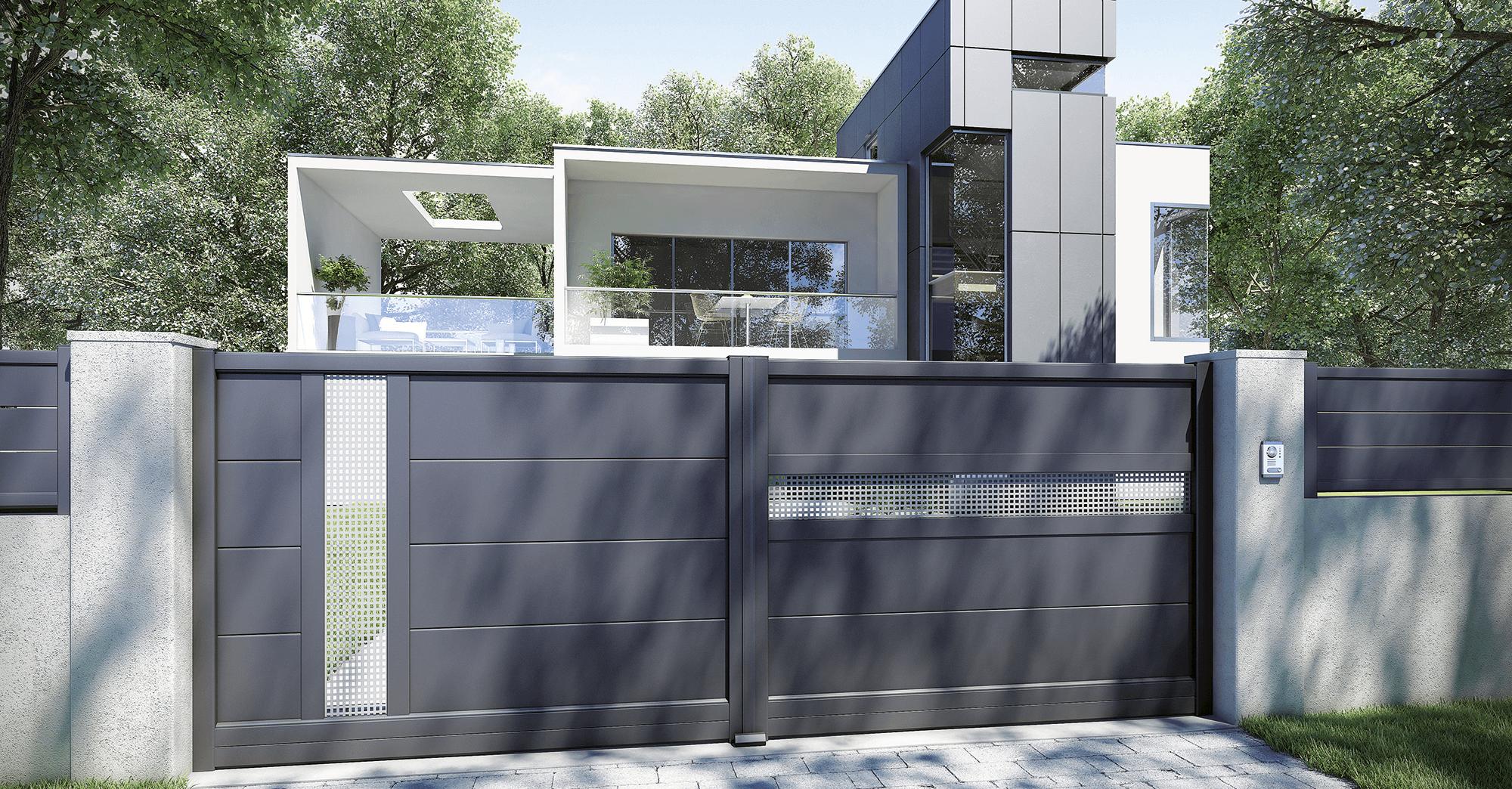 Portail CHARUEL en aluminium battant fabriqué en France et personnalisable