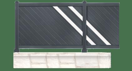 La clôture BOOGIE en aluminium, de forme droite et composée de lames fougères vous protégerons des regards indélicats
