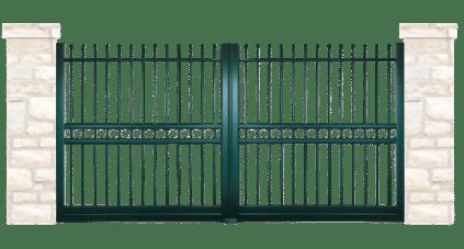 portail aluminium contemporain blason