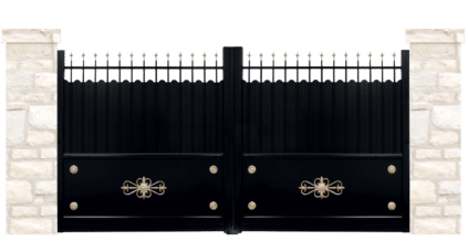 portail aluminium contemporain ecusson