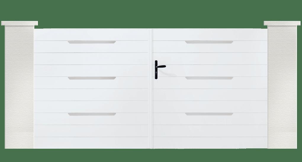 Hood est un portail en PVC de la collection coordonnée. Disponible en ouverture battante ou coulissante.