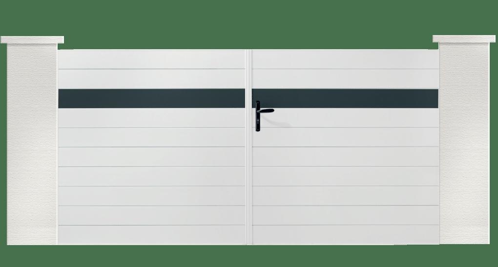 Votre portail plein Siltelle en PVC, donnera du cachet à votre entrée. Sa lame de couleur personnalisable.