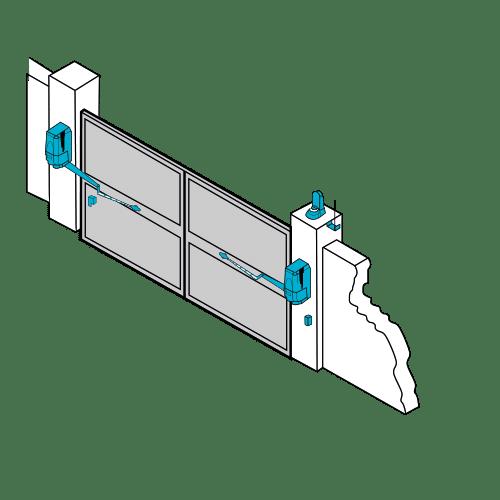Moteurs verticaux à bras pour portail Alu et PVC