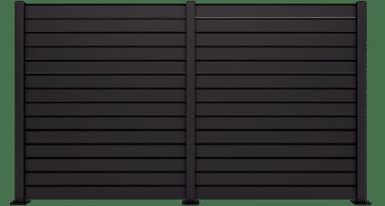 Claustra aluminium Zimbra présenté dans un profond Noir 9005 SMF