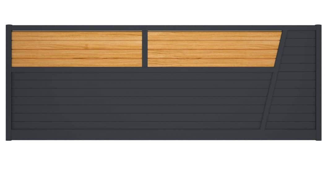 Conservez ou enrichissez votre habitation d'un touche de bois avec le portail alu Colias et ses lames obliques aspect chêne irlandais