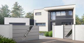 Mettez en valeur le caractère de votre maison et souligner sa modernité avec le portail aluminium Bellando, fabriqué sur-mesure en France par Charuel