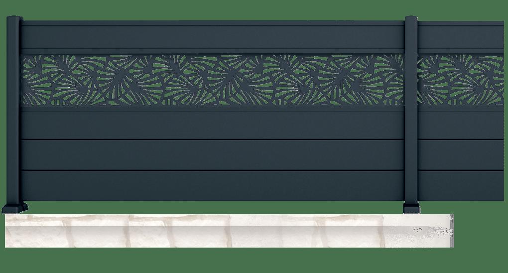 Balisier est une clôture aluminium avec petit jour. Personnalisable avec 6 motifs de tôles découpées au laser et plus de 25 coloris