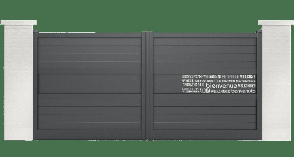 portail aluminium capret motif bienvenue