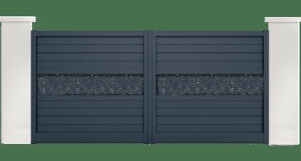 portail aluminium contemporain capret motif papyrus
