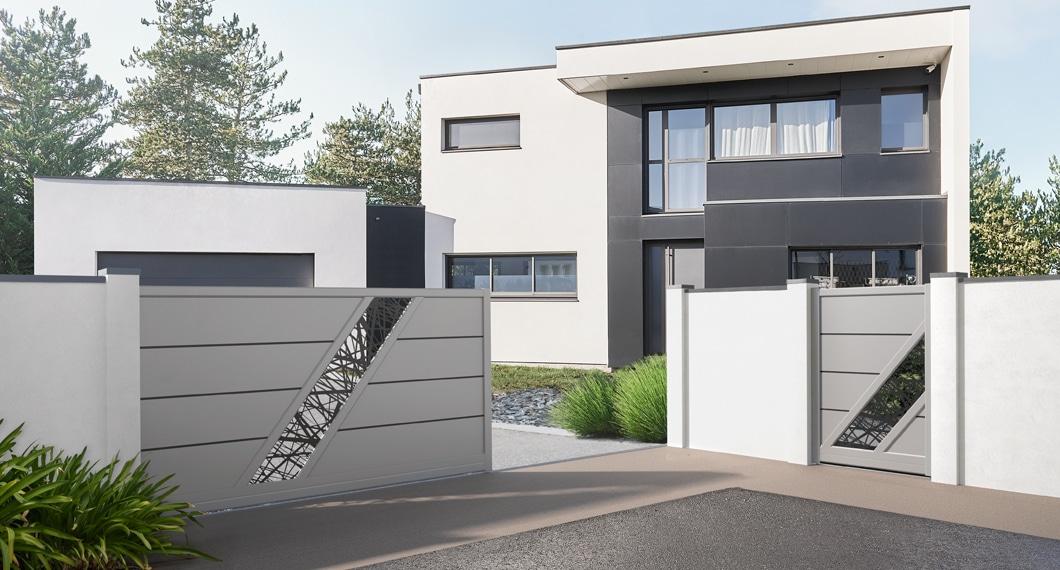 Votre portail et portillon assortis, modèle Bellando (Gris ral-7004)