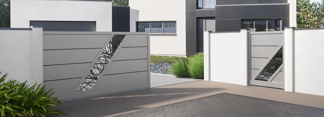 Portail et portillon en aluminium modèle Bellando avec une tôle Bambou fabriqué sur mesure
