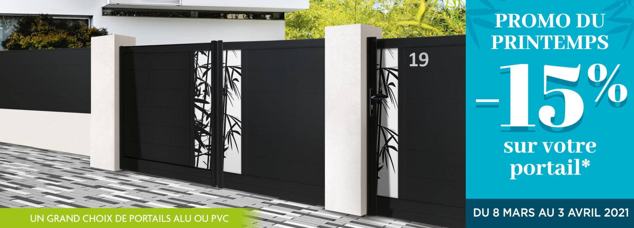 PROMO portails alu et PVC fabriqués sur mesure.